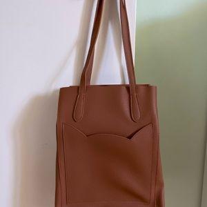 Brown Kitty Cat Pocket Shoulder Tote Bag